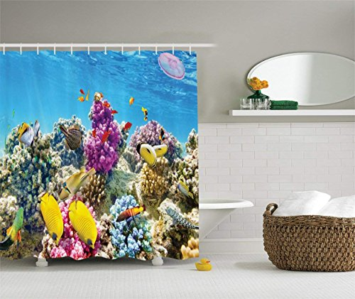 Ambesonne Ocean Shower Curtain, Intact Sea Life Fish School...
