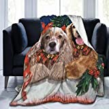 Yulimin Merry Christmas American Cocker Spaniel Dog Full Fleece Throw Cloak Wearable Blanket Nursery Bedroom Bedding Decor Decorations Queen King Size Flannel Fluffy Plush Soft Cozy Comforter Quilt
