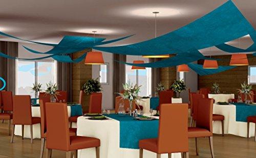 Set 3 tentures de plafond Voile triangle, TURQUOISE