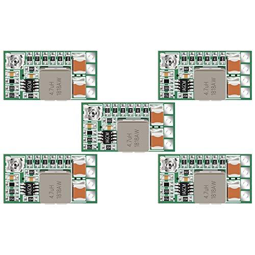 5v Regulator, DROK 5pcs Mini Voltage Reducer DC 4.5-24V 12V 24V Step Down to 5V Buck Converter Board 3A Volt Step-Down Transformer Power Supply Module
