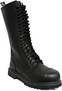 King Black Mens Unisex Safety Steel Toe Cap Military Punk Boots