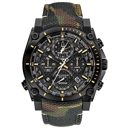 Men's Bulova Precisionist Chronograph Champlain Camouflage Strap Watch 98B332