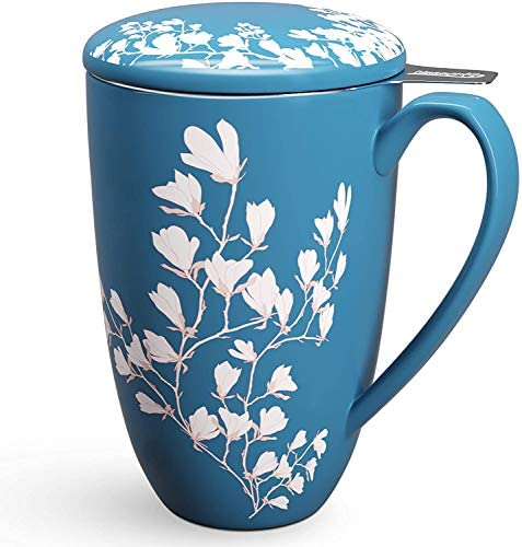 Immaculife Tea Cup with Infuser and Lid Ceramic Tea Mug with Lid Teaware with Filter 15oz Navy product image