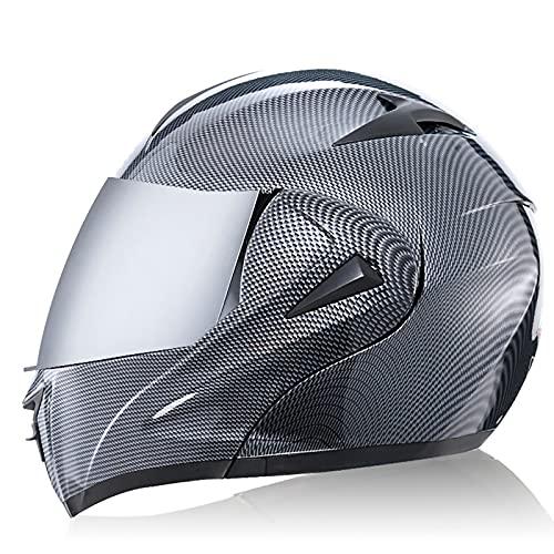 Casco de Motocicleta con Doble Visera en - Casco de Motocicleta Ligero Certificado por Dot/ECE para Adultos, jóvenes, Hombres y Mujeres H,S