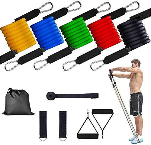 Ragova Resistance Bands Set di fasce elastiche di resistenza per ginnastica, fitness, con estensore, maniglie, ancoraggio per porta, passanti per piedi, borsa per il trasporto, Nero