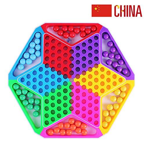 JINLIU Dama Cinese con Biglie 2 in 1 Gioco da Tavolo Pezzi degli Scacchi Include 60 Biglie in 6 Colori per Giochi di Viaggio per Famiglie