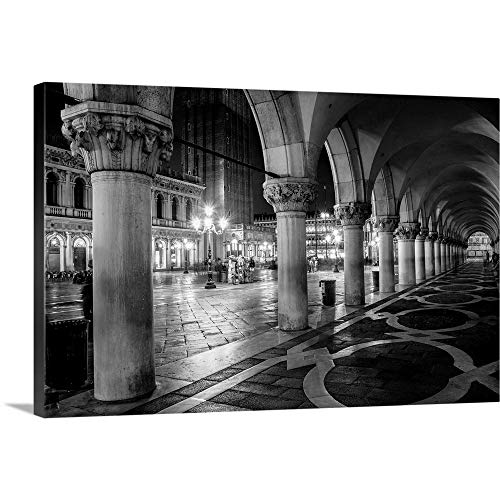 "St. Mark's Square at Night, Venice, Italy, Europe Canvas Wall Art Print, 48""x32""x1.25"""