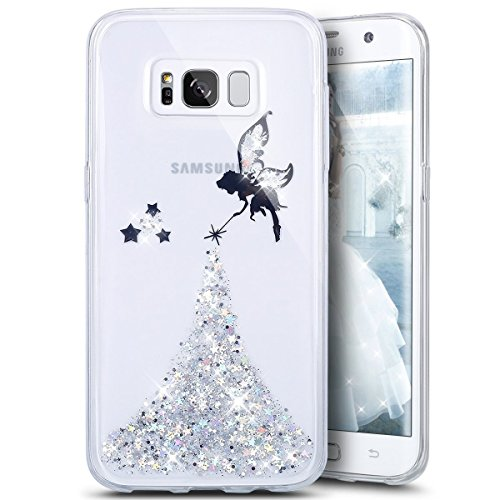 Galaxy S8 Plus Case,Galaxy S8 Plus Bling Glitter TPU Case,PHEZEN Fairy Angel Girl Pattern Shiny Glitter Flexible Soft Rubber Gel Clear TPU Bumper Silicone Back Case for Samsung Galaxy S8 Plus (Silver)