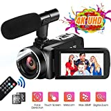 Videocamere 4K Videocamera Ultra HD 30MP 18X Zoom Digitale Camcorder Touch Screen Ruotabile Videocamera per YouTube con Microfono Esterno, 2 Batterie