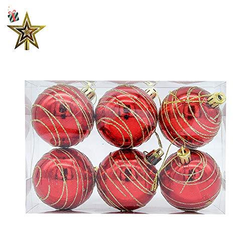 Baumkugeln 6 Stück Christbaumkugeln Weihnachtskugeln, Morbuy Weihnachtsdekorationen Baumschmuck für Tannenbaum, Weihnachten, Hochzeit, Jubiläum, Party, Feier usw (6cm,rot)