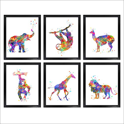Dignovel Studios Unframed (Set of 6) 8X10 Elephant Sloth Alpaca Chimpanzee Giraffe Lion Watercolor Wild Animal Prints Baby Art Print Set Nursery Decor dnc6