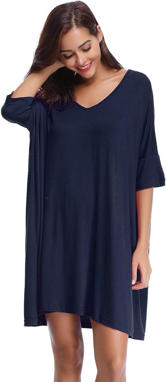 Aibrou Women's VNeck Short Sleeve TShirt Dress Loose Nightshirt Sleepwear