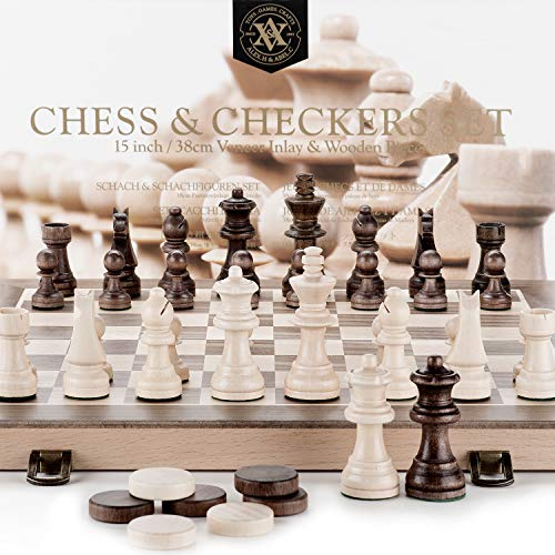 A&A 15 Folding Wooden Chess & Checkers Set w/ 3 King Height Chess Pieces / 2 Extra Queen / German Knight Staunton Wooden Chessmen / Classic 2 in 1 Board Games …
