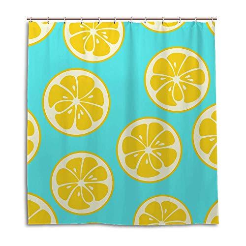 PICKIDS Duschvorhang, gelb, Zitronenscheiben, Früchte, Polyester, wasserdicht, langer Duschvorhang für Badezimmer, Badewanne mit 12 Haken, Polyester, mehrfarbig, 152 x 183 cm