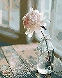 Pintura por números para Adultos DIY Pintura al óleo Kit con Pinceles y Pinturas para Niños Seniors Junior -Con Marco de Madera- Flor Rosa Mesa Vintage - 40 x 50 cm - PBN26056