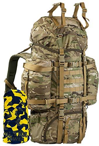 Wisport taktischer Militär Rucksack Camo 75L für Damen Herren I Tactical Backpack I Military Pack Molle | Assault | Armeerucksack Camouflage I Reindeer + Ultrapower Halstuch; US Multicam
