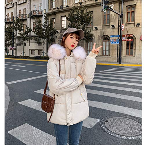 KOUPNLTM Manteau en Coton À Capuche pour Femme Vogue d'hiver Casual Vestes en Coton Chaud Manteau pour Femme Parkas L Beige