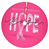 Carwayii Blog-Breast-Cancer-Awareness Xmas Tree Skirt Round Xmas Tree Decorations Durable Thick Christmas Tree Skirt Luxury Xmas Ornaments Non-Fading New Year Party Supplies for Christmas