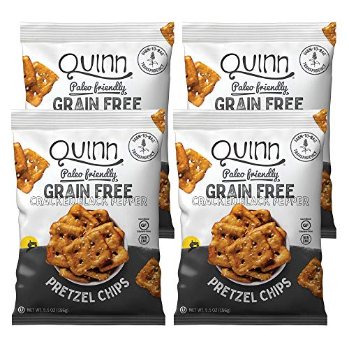 Quinn Cracked Pepper and Sea Salt Grain Free Pretzel Chip, 5.5oz Bag (4 Count)