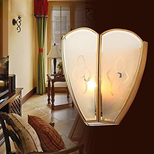 Kronleuchter Aplique de Pared Vintage nórdico de Cobre Estilo Americano Country LED Hotel Villa Aplique de Pared con cabecero de Dormitorio
