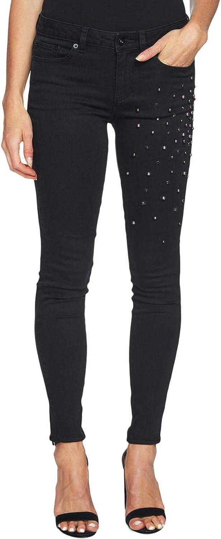 CeCe Womens Embellished MidRise Skinny Jeans Black 28