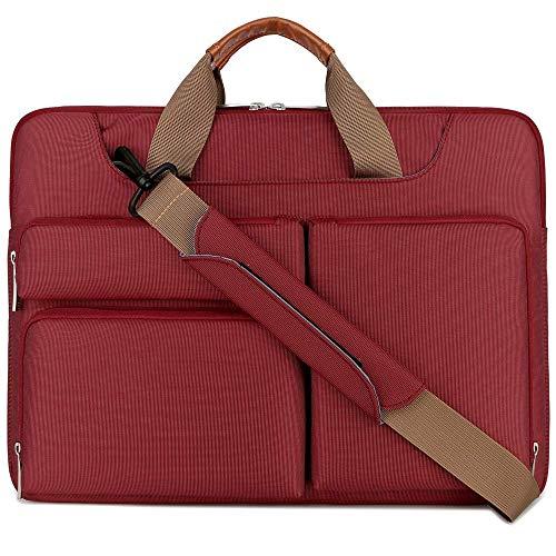 Lacdo 15.6 Inch Protective Laptop Shoulder Bag Sleeve Case for 15.6' HP Pavilion 15/15s-fq0024, Acer Aspire 3 5 7/Predator, Dell Inspiron 15, Lenovo V145, Asus ViovoBook 15/TUF FX505 Computer Bag, Red