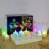 Decoraciones navideñas de candelita recargables HL Velas parpadeantes sin llama Luz LED de CC con control remoto para el centro de mesa Fiesta de bodas en el hogar de San Valentín (RGB, paquete de 12)