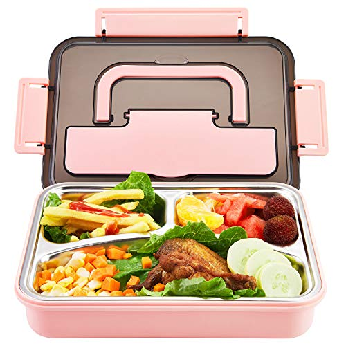 Stainless Steel Bento Box | Metal Lunch Container for Adults | 3 Compartments Portable Food Container with Utensil (Pink)
