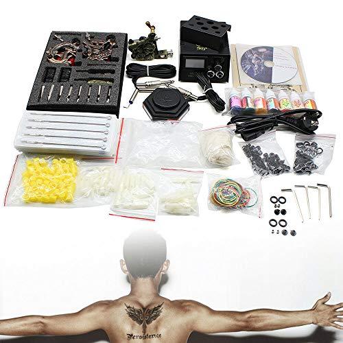 Kit completo de tatuaje para principiantes, 3 máquinas de tatuaje, 7 colores, 50 agujas, máquina de tatuaje, pistola de tatuaje, aguja de tinta, para practicar la piel