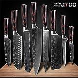 SJZS Cuchillo de Cocina de 8' Pulgadas Modelo japonés Cuchillos de Cocina láser Damasco Chef Santoku Cuchillo Afilado Cleaver rebanar Cuchillos Herramienta EDC (Color : 8 PCS Value Set)