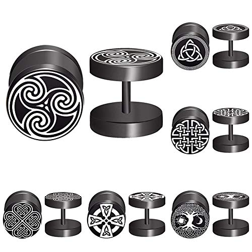 FLYUN Good Luck Celtic Knot Symbol Black Stud Earrings Men Women Faux Gauges Ear Tunnel Fashion Stainless Steel Fake Ear Plugs 6 Pairs (Celtic Knot)