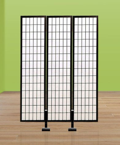 New Black Finish Room Divider Shoji Screen Stand Holder For 3 Panel Screens
