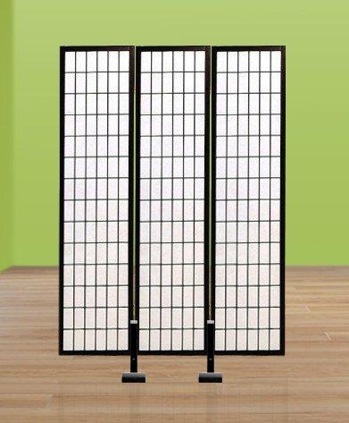 New Black Finish Room Divider Shoji Screen Stand Holder For 3 Panel Screens