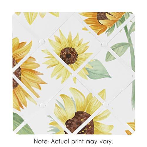 Sweet Jojo Designs Yellow, Green and White Sunflower Boho Floral Fabric Memory Memo Photo Bulletin Board - Farmhouse Watercolor Flower
