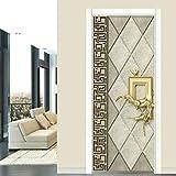Türaufkleber im europäischen Stil Wohnzimmer Schlafzimmer Luxus Wohnkultur Design Türaufkleber Tapete wasserdichtes Wandbild A1 77x200cm