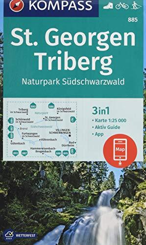 KOMPASS Wanderkarte St. Georgen, Triberg, Naturpark Südschwarzwald: 3in1 Wanderkarte 1:25000 mit Aktiv Guide inklusive Karte zur offline Verwendung in ... Langlaufen. (KOMPASS-Wanderkarten, Band 885)