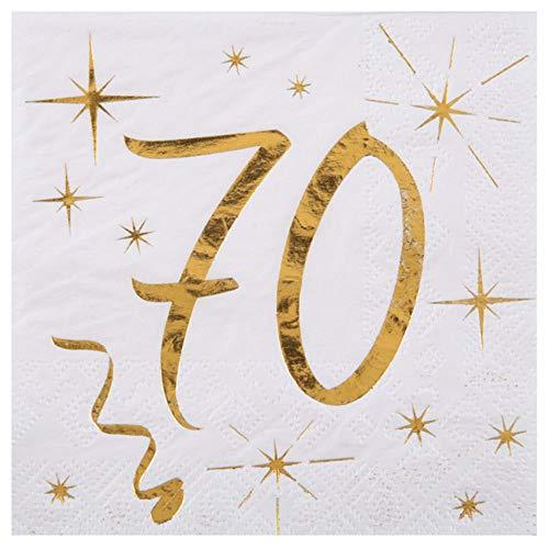 WOOOOZY Cocktail Servietten 70. Geburtstag,25cm, 20 St