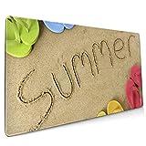 Alfombrilla de ratón Grande para Juegos Summer Sand Sea Flap Flop Goma Antideslizante Espesar 3 mm Teclado Alfombrilla de ratón Alfombrilla de ratón 40 x 75 cm