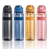 Diller Water Bottle with Straw, 28 oz BPA Free Plastic Water Bottle with Leak Proof Flip Top Lid for Gym Camping Workouts Outdoors (Clear Blue)