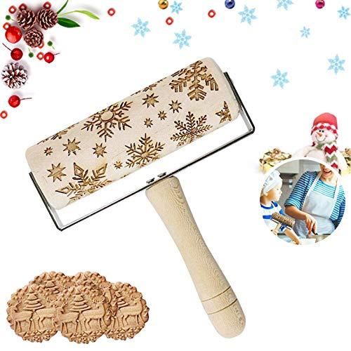 Sunshine smile Weihnachten teigroller aus Holz,Holz Nudelhölzer zum Backen geprägte Kekse,3D Holz Nudelholz,teigroller mit prägung,graviertes Nudelholz (B)