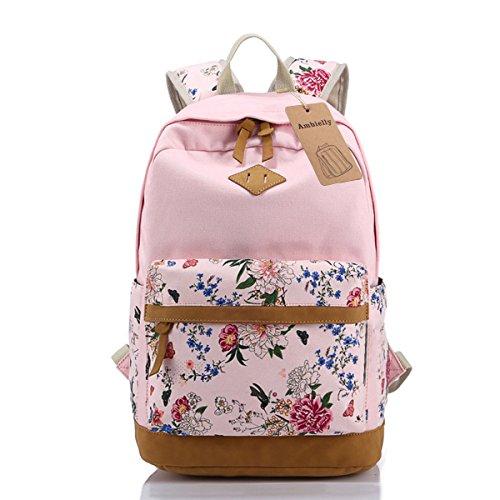 Ambielly Stile Scuola Zaini addensato Tela Borsa del portatile spalle Daypack scuola dello zaino borsa causale