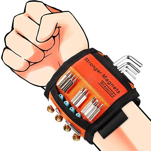 Magnetisches Armband Werkzeuggeschenk für Männer Magnetschraubenhalter mit 20 starken Magneten und 2 Taschen Werkzeuggürtel für Männer, Vater, Vater, Ehemann, Freund, Frauen (Orange)