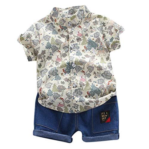Kleinkind Kinder Baby Boy Kurzarm Cartoon Muster Shirt Tops + Jeanshose Set Jungen Kinderbekleidung