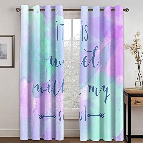 Daesar Curtain for Living Room 2 Panels, Curtains for Bedroom Design It is Well with My Soul Arrow Drapes Blackout Curtains Purple Blue Polyester Outdoor Curtains 54x108 inch