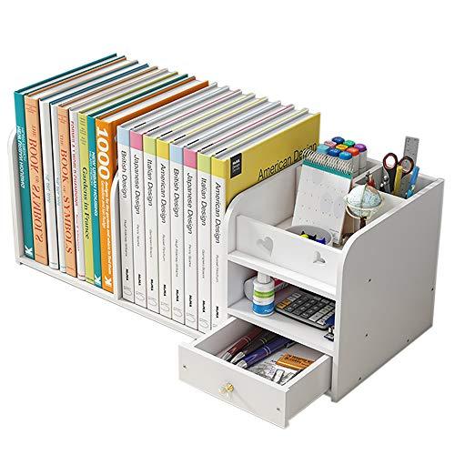 Scaffale da scrivania minimalista stile semplice e di grande capacità, doppio strato libreria con portapenne cassetto bianco puro, adatto per ufficio, scuola casa (PS-01)