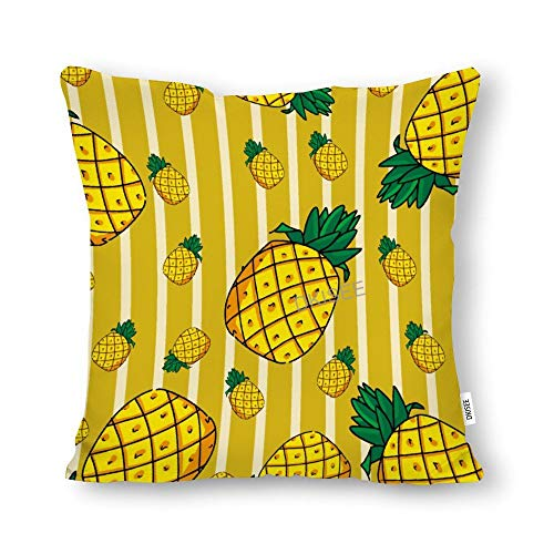 DKISEE Pineapple on Yellow Background Throw Pillow Cover, Cotton Canvas Decorative Square Pillow Case, Novelty Modern Pillow Cushion Waist Cover for Sofa Bed, 22x22 Inch, SDS236