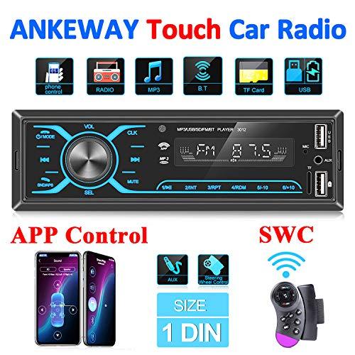 ANKEWAY 2020 Nuovo Touch Autoradio Bluetooth Stereo 1 DIN Car Radio con Controllo Super App E Telecomando al Volante, Massimo 75W x 4, Supporto MP3/USB/Micro-SD/TF/AUX/USB Ricarica Rapida