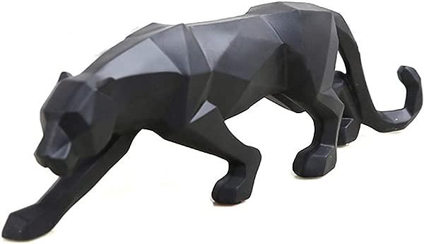 Wyhweilong 黑豹雕塑现代几何树脂豹子雕像野生动物装饰礼物黑色