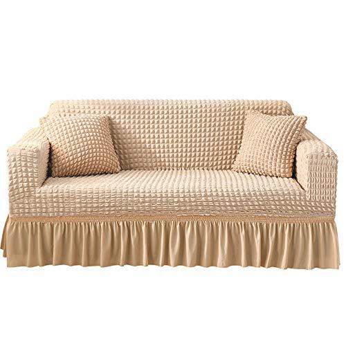 NOBCE Funda de sofá elástica de algodón, Funda elástica con Todo Incluido, Funda de sofá, Toalla, Funda de sofá para Sala de Estar, Beige 235-300CM