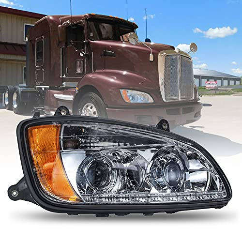 Headlight Fits 2008-2016 Kenworth T660 T770 T700 T170 T270 T370 T470 T440, Replacement Projector Headlamps with Bulbs in, Right Passenger Side